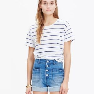 Madewell High Rise Button Front 70s Denim Shorts